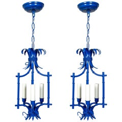 Palm Beach Style Blue Faux Bamboo Lanterns, Midcentury, Pair