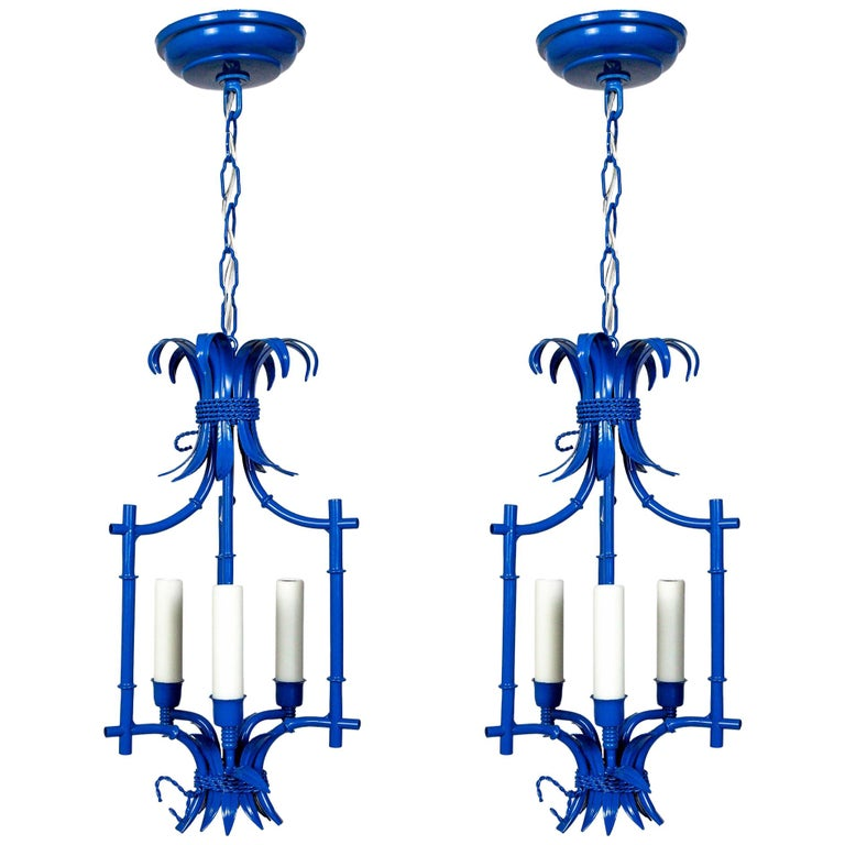 Palm Beach Style Blue Faux Bamboo Lanterns, Midcentury, Pair For Sale
