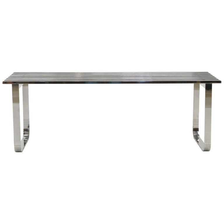 Chromed Steel Bench by Milo Baughman For Sale