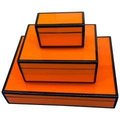 Set of Three Vintage Orange and Black Jewelry Boxes