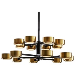 Grand Two-Tiered Spider Chandelier Handcrafted in Bronze and Brass