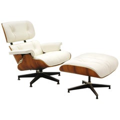 Lounge Chair and Ottoman, Charles & Ray Eames, Brazilian Rosewood, White Leather