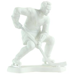 Hockey Player Ceramic Statue in White Porcelain, Royal Dux 1947 Edition