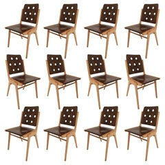 Set of 12 Stacking Dining Chairs Franz Schuster, Duo-Colored, Austria, 1950s