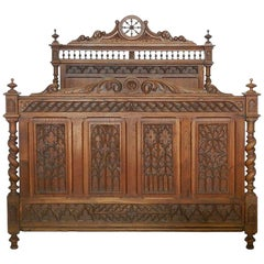 French Bed Antique 19th Century Gothic Carved Oak US Full Double