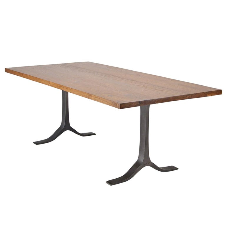 Reclaimed Hardwood Table, Sand Cast Aluminium Base by P. Tendercool For Sale