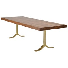 Reclaimed Hardwood Table, Sand Cast Brass Base by P. Tendercool