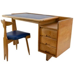 Guillerme and Chambron 3-Drawers Oak Desk with Matching Chair