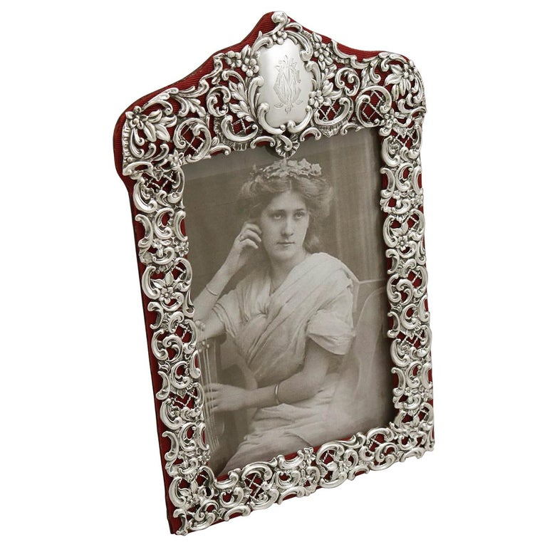 Victorian English Sterling Silver Photograph Frame For Sale