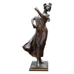 19th Century French Bronze Dancer Figure Signed A. Bouval