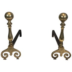 Pair of Bronze and Iron Andirons, French, 18th Century