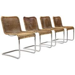 Italian Midcentury Dining Chair in Chromed Metal, 1970s, Set of 4