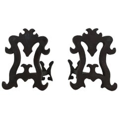 Pair of Wrought Iron and Cast Iron Andirons, French, circa 1940