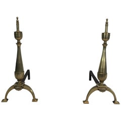 Pair of Neoclassical Brass and Wrought Iron Andirons, French, circa 1940