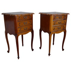 20th Century Louis 16 Style Cherry Bedside Tables / Three Drawers Nightstands
