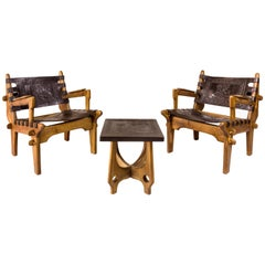 Angel Pazmino, Pair of Armchairs with Side Table, Wood and Leather, circa 1970
