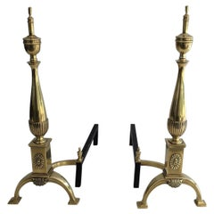 Pair of Neoclassical Bronze Andirons, French, circa 1940