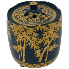 Japanese Pure Gold Blue Porcelain Incense Burner by Contemporary Master Artist