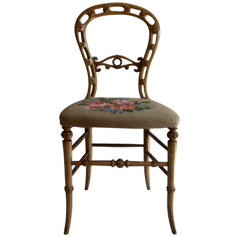 Mid-19th Century Side Chair Hand Carved Wool Work Seat, Victorian, circa 1850 For Sale