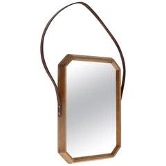 Italian Midcentury Wood Frame Mirror, 1960s