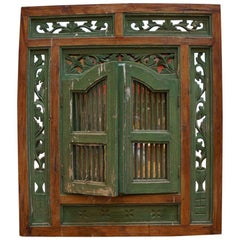 19th Century French Mirror Disguised Behind a Hand Painted Window Frame