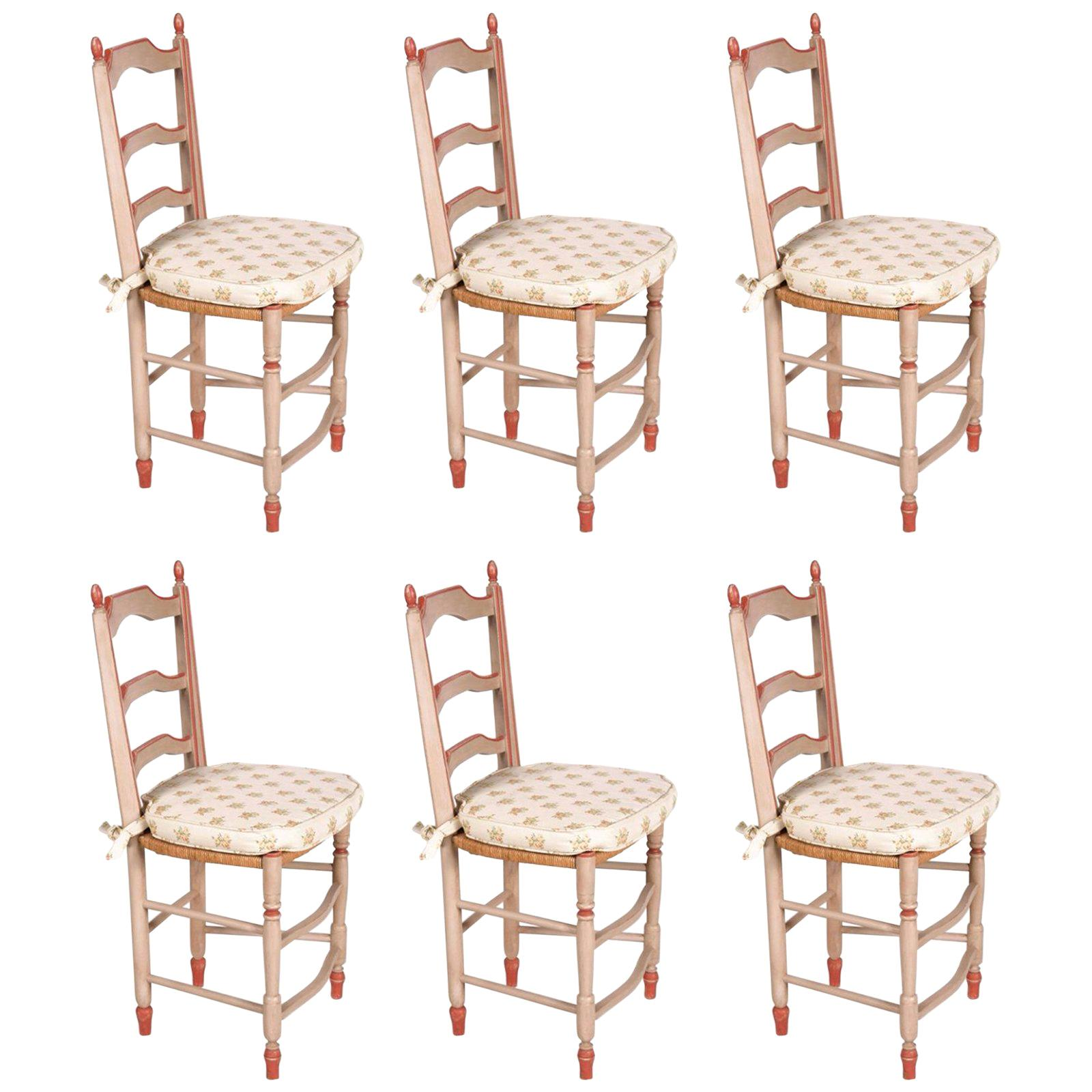 19th Century French Hand Painted Set of Six Dining Chairs in Provincial Style