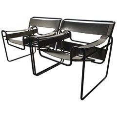 Pair of Wassily B3 Chairs with Rare Black Frame by Marcel Breuer for Gavina