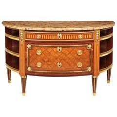 Louis XVI Ormolu Mounted Parquetry Demilune Commode a L'Anglais