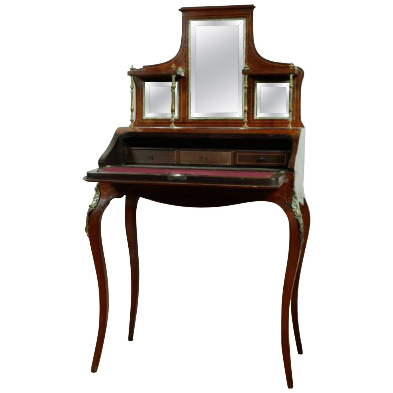 19th Century French Louis XVI Style Mahogany Inlaid Ladies Desk Bonheur Du Jour
