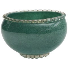 Murano Green Pulegoso Glass Bowl, Mid-20th Century