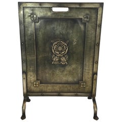 Arts & Crafts Brass and Iron Fire Place Screen, circa 1900