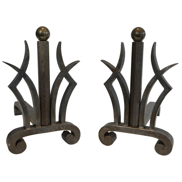 Pair of Art Deco Hammered Wrought Iron and Brass Andirons, French, circa 1930 For Sale