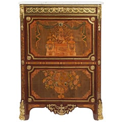 Louis XVI Ormolu-Mounted, Marquetry and Parquetry Secretaire à Abattattant