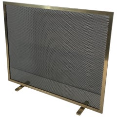 Brass Fire Place Screen with Metal Grilling, French, circa 1970