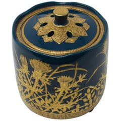 Japanese Contemporary Blue Pure Gold Porcelain Incense Burner by Master Artist