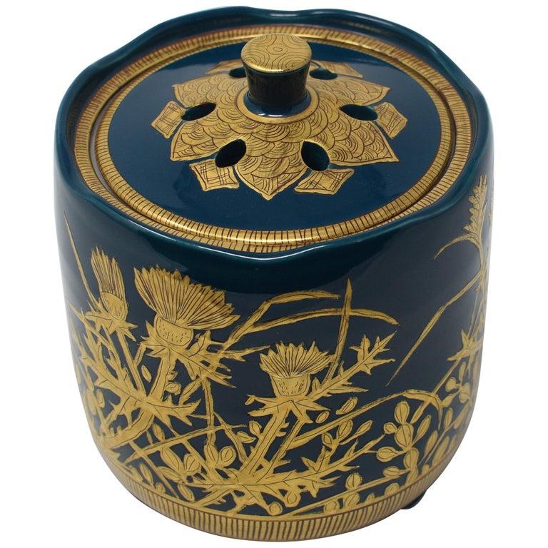 Japanese Contemporary Blue Pure Gold Porcelain Incense Burner by Master Artist For Sale