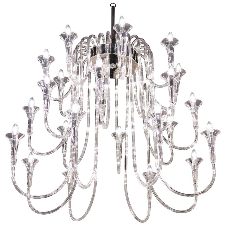 Octopus Chandelier in Pyrex, Baroque Style, Italy For Sale