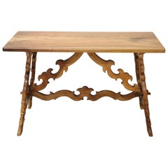 19th Century Italian Renaissance Style Walnut Desk or Side Table with Lyre Legs