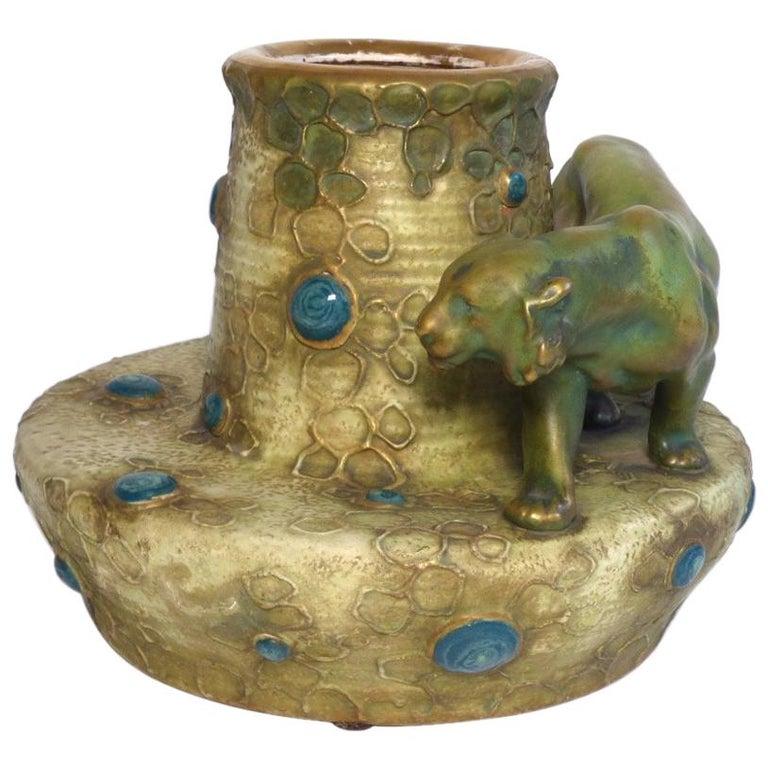 Ceramic Vase Art Nouveau Pottery Turn-Teplitz Bohemia Amphora, Austria For Sale