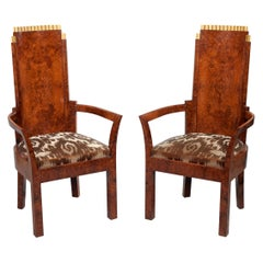 Pair of Art Deco Amboyna and Gilt Armchairs Attributed to Josef Hoffmann