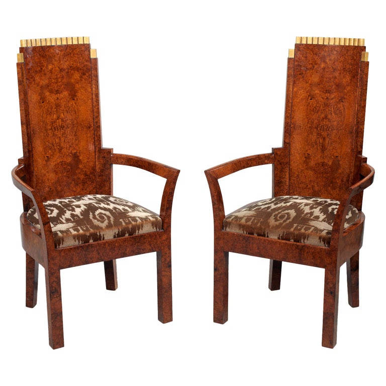 Pair of Art Deco Amboyna and Gilt Armchairs Attributed to Josef Hoffmann For Sale