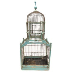 19th Century German Blue Chalk paint Painted Bird Cage