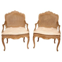 Pair of Canned Louis XV Style Armchairs in Cream Lacquered Wood, circa 1880