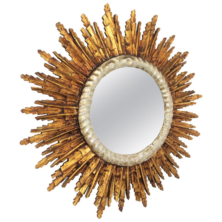 French Baroque Style Silver and Gold Gilt Carved Wood Large Sunburst Mirror For Sale