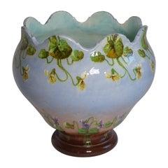 Pierre Perret Et Fils Jerome Massier, Art Nouveau Ceramic Vase, Vallauris