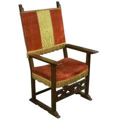 Frailero Armchair, Walnut Wood, Textile, Spain, 17th Century
