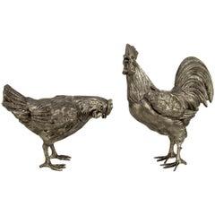 Große französische Hahn- und Hühnerskulpturen aus Zinn