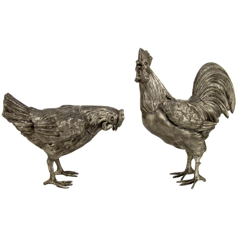 Large French Pewter Rooster and Chicken Sculptures For Sale