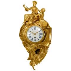 Louis XV Ormolu Cartel Clock by Henri-Charles Balthazar