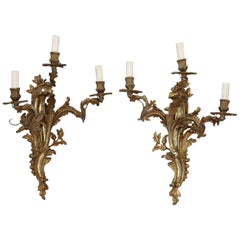 19th Century Italian Golden Bronze Pair of Wall Light or Sconces